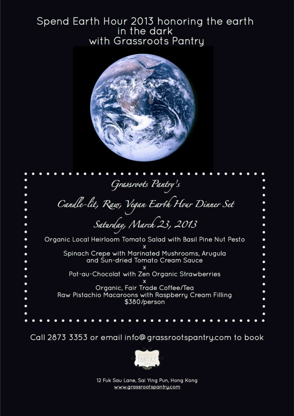 Earth Hour Raw Dinner flyer