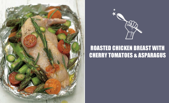 Roasted-chicken-breast-with-cherry-tomatoes-&-asparagus