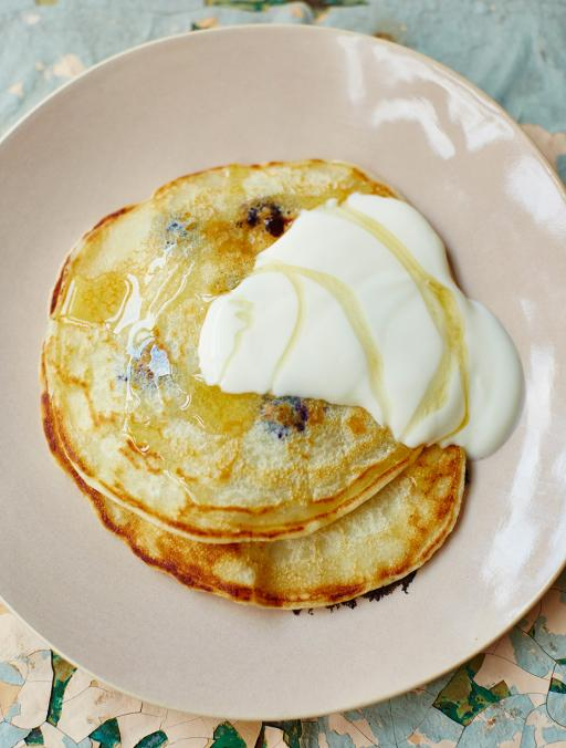one-cup pancake with blueberries