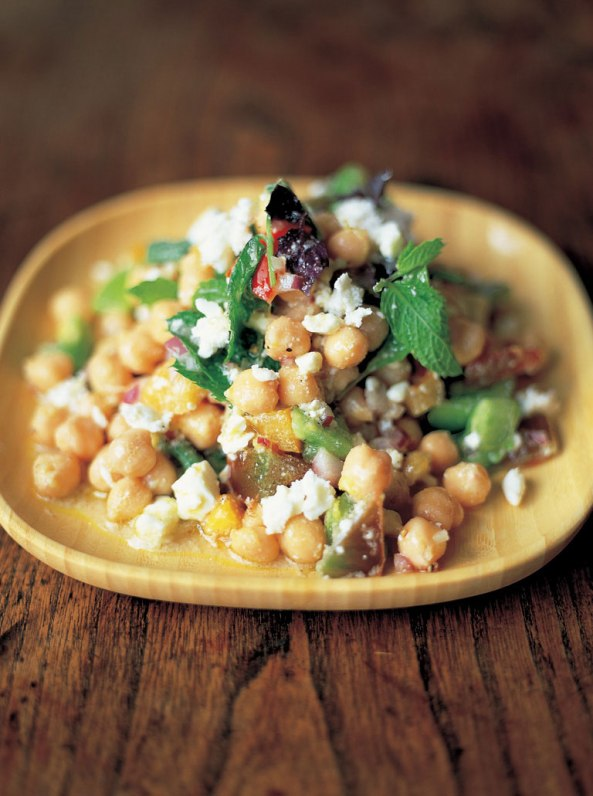 Summer chickpea salad with tomatoes, feta, chilli and herbs