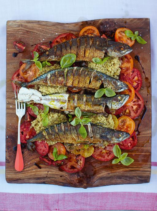Mighty mackerel with mixed tomato _ quinoa salad