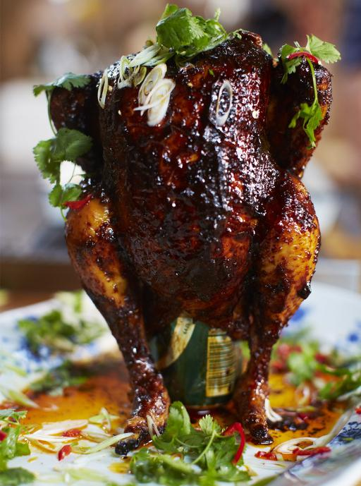 Sweet _ spicy beer can chicken