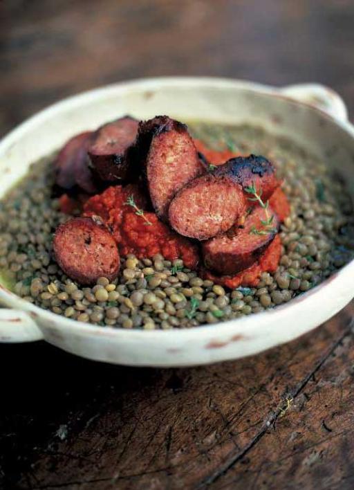 Sausages _ green lentils with tomato salsa (Salsicce con lenticchie verdi e salsa di pomodoro)